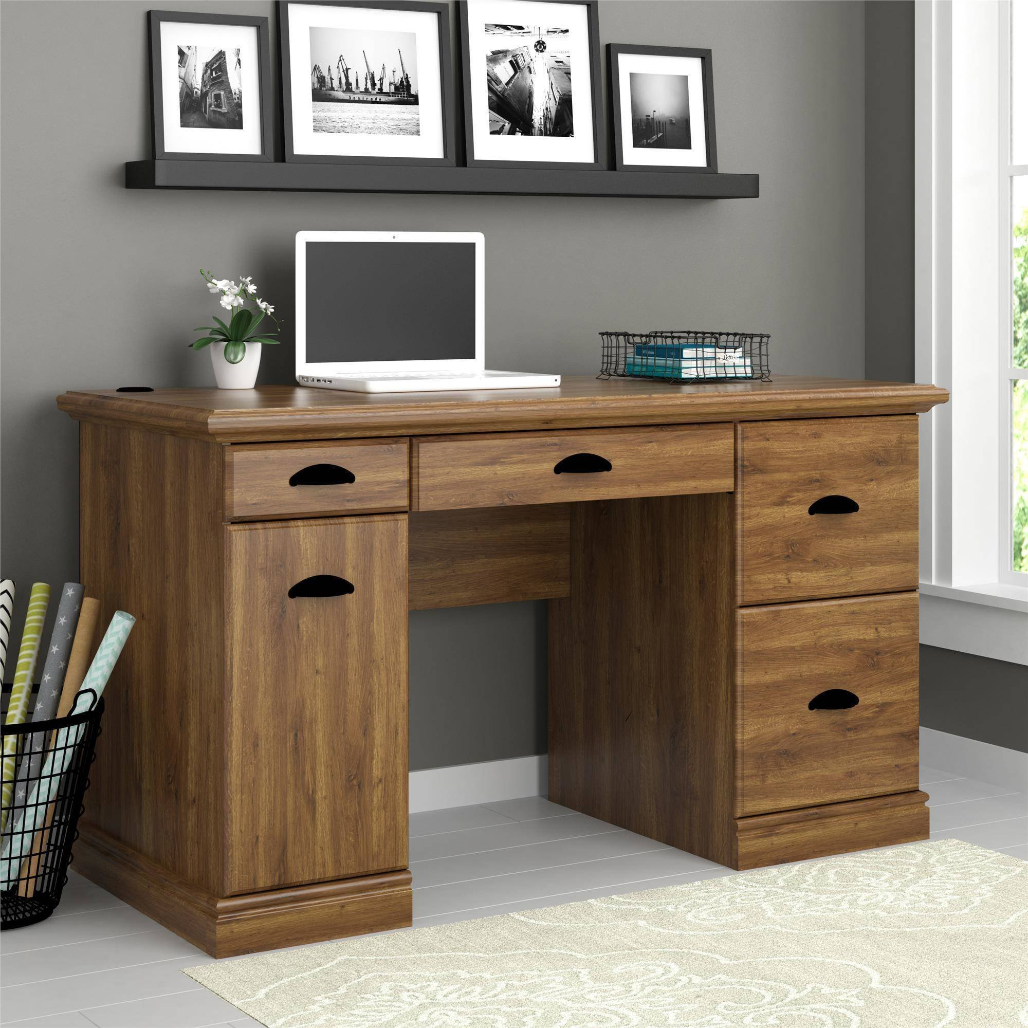 Elegant Wooden Desk in Classic Vintage Design with Multiple Storage Drawers and Trays, Large Workstation, Sophisticated Antique Look is Perfect Addition in Home and Office (Abby Oak)