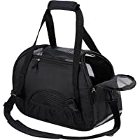 Kaka mall Pet Carrier Waterproof Fabric Padded Soft Sided Airline Approved Portable Collapsible Mesh Breathable for Medium Dogs Cats Travel Bag Can be Connected with Car Seat Belts (Black, Large)
