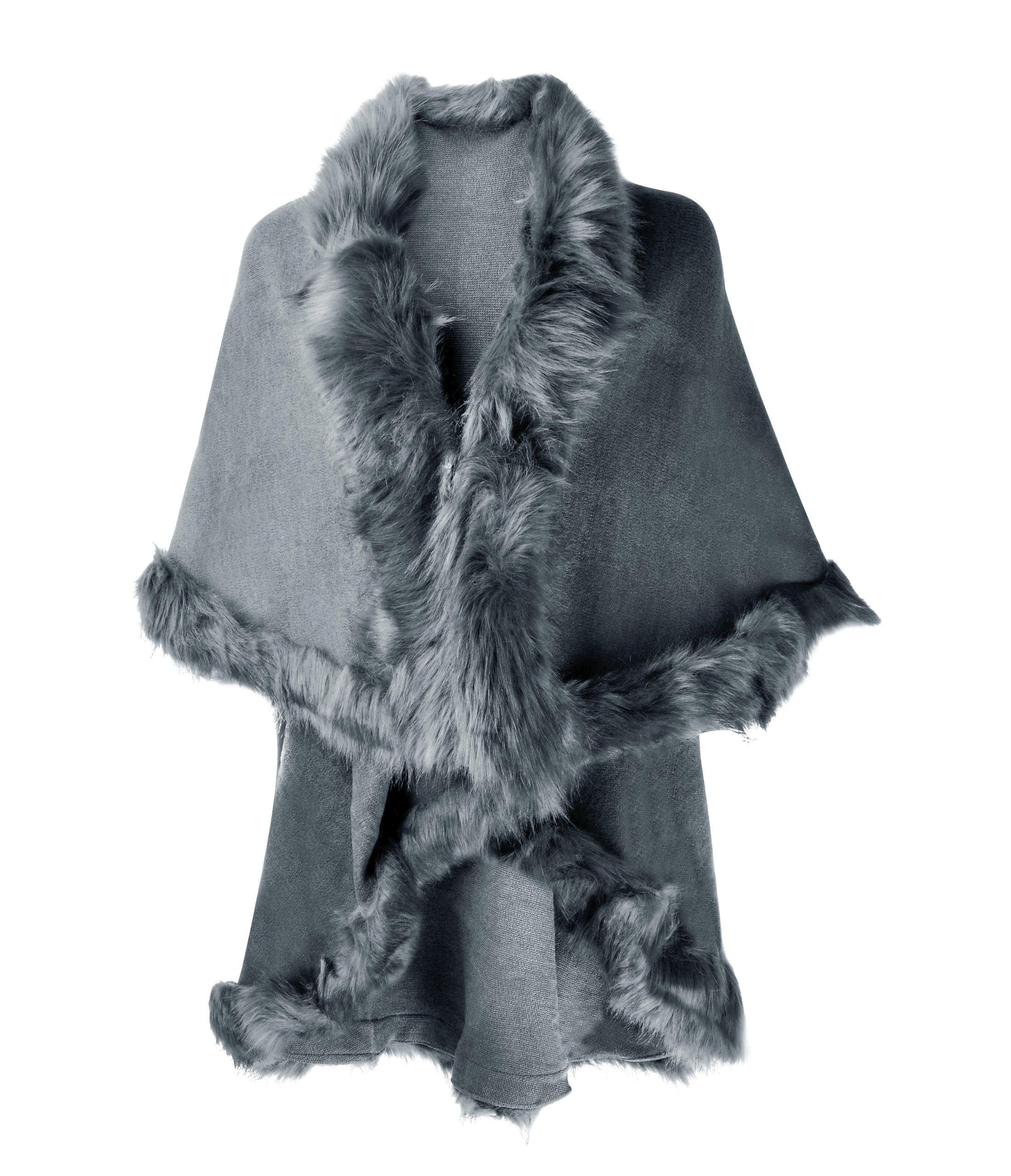 ZLYC Women Fine Knit Open Front Faux Fur Trim Layers Poncho Cape Cardigan Sweater (Gray)
