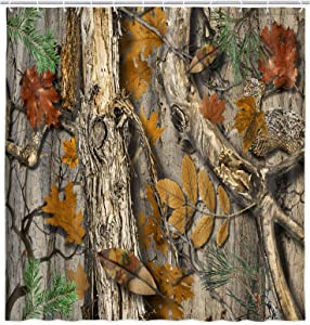 JAWO Camo Hunting Shower Curtain, Mossy Oak Real Tree Camouflage Fabric Shower Curtain, Camo Realtree Bathroom Curtain with Hooks 69W X 70L Inches