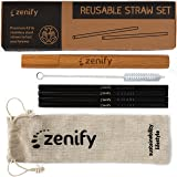 Zenify Reusable Straws Black with 4X 8mm Metal Straw + Case + Bag + Cleaner - Eco Friendly Stainless Steel Smoothie Drinking Gift Set - Alternative to Single Use Plastic Paper Glass Silicone Bamboo