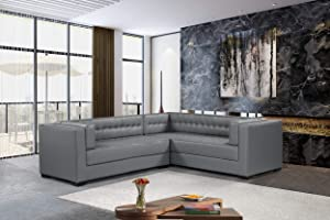 Iconic Home Lorenzo Right Facing Sectional Sofa L Shape PU Leather Upholstered Tufted Shelter Arm Design Espresso Finished Wood Legs Modern Transitional, Grey