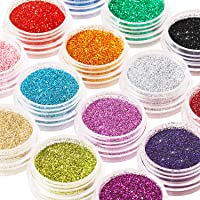 16 Colors Glitter Nail Sequins Powder Cosmetic Festival Chunky Body Manicure Craft Glitter for Nail Hair Face with 6…