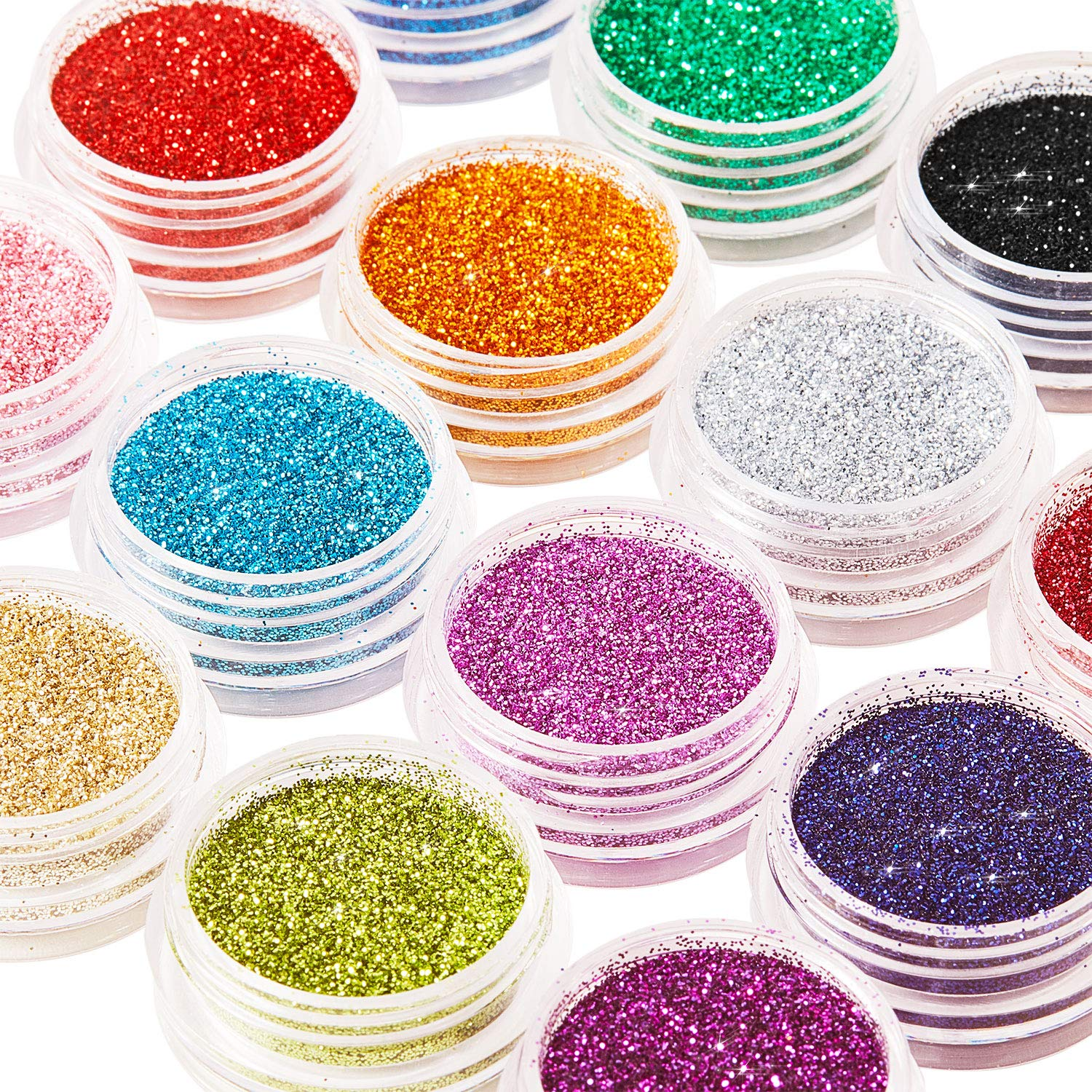 16 Colors Glitter Nail Sequins Powder Cosmetic Festival Chunky Body Manicure Craft Glitter for Nail Hair Face with 6 Small Brushes