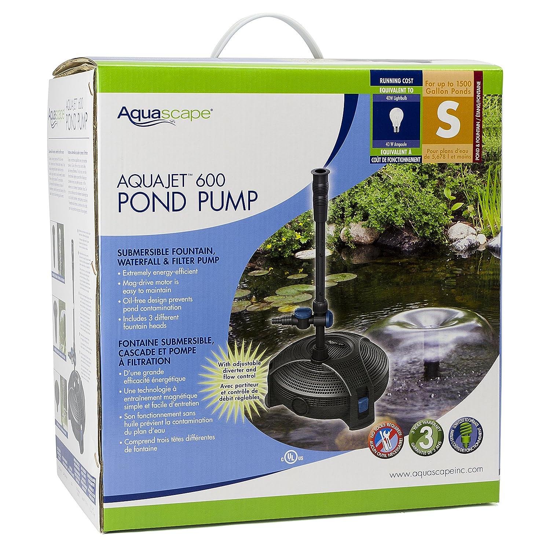 Amazon.com : Aquascape 91014 AquaJet 600 Submersible Pump For Ponds,  Fountains, Waterfalls, And Filters, 525 GPH : Rain Barrels : Garden U0026  Outdoor