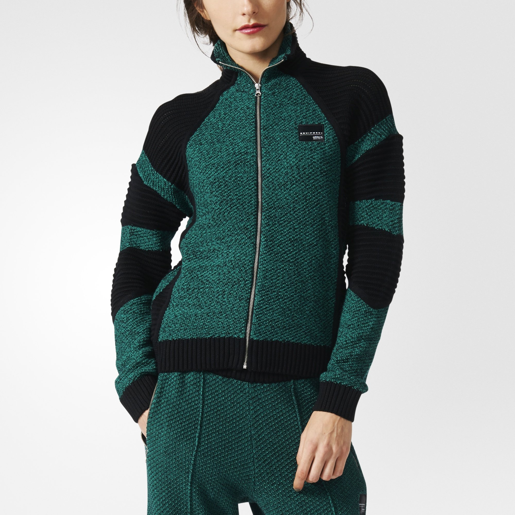 Adidas Originals Women's Equipment ADV / 91-17 Track Top Full Zip Knit Jacket, SubGreen/Black, X-Large by adidas Originals