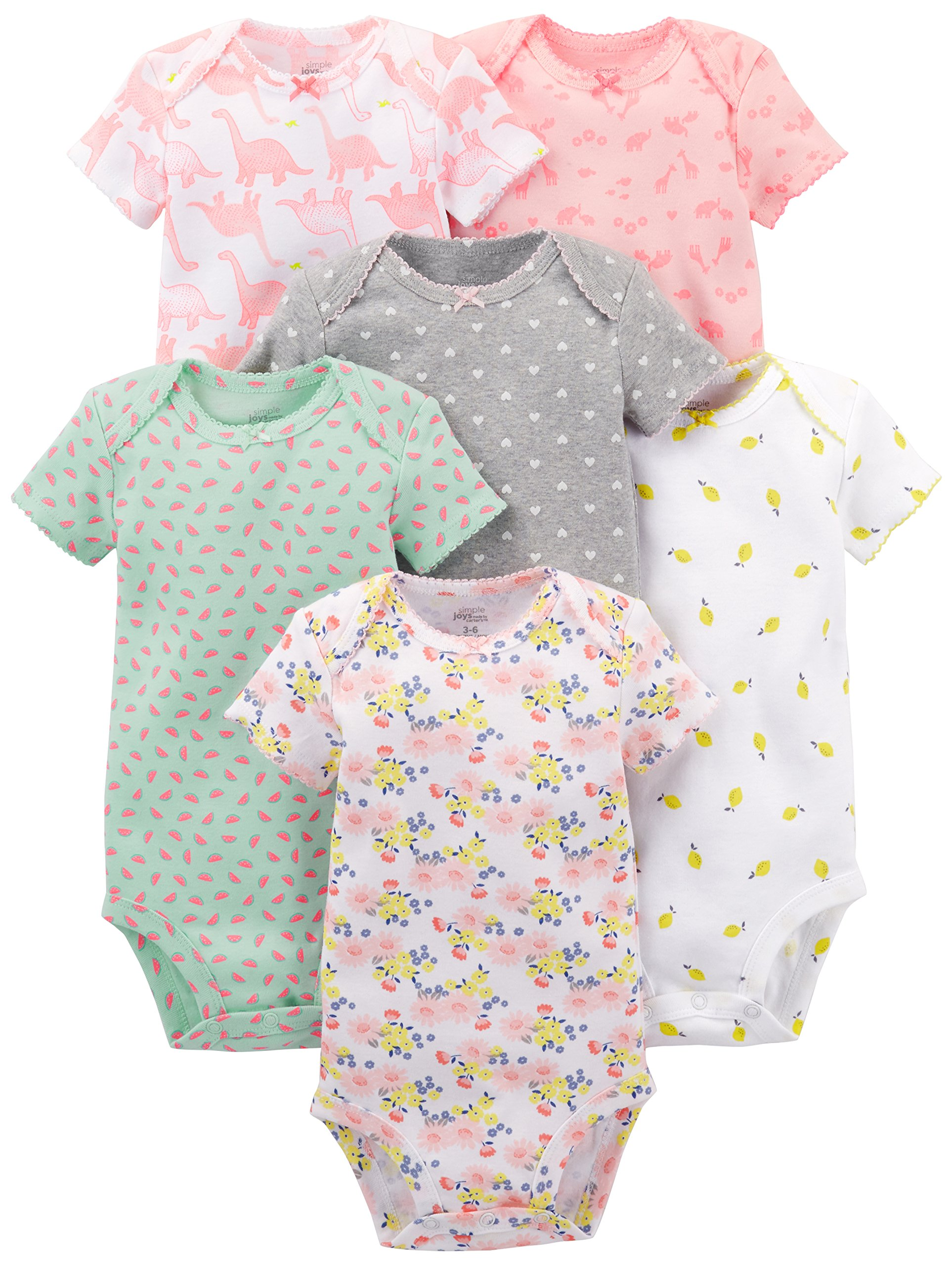 Simple Joys by Carter's Baby Girls' 6-Pack Short-Sleeve Bodysuit, Pink Dino, Floral, Mint, White, Gray, 12 Months