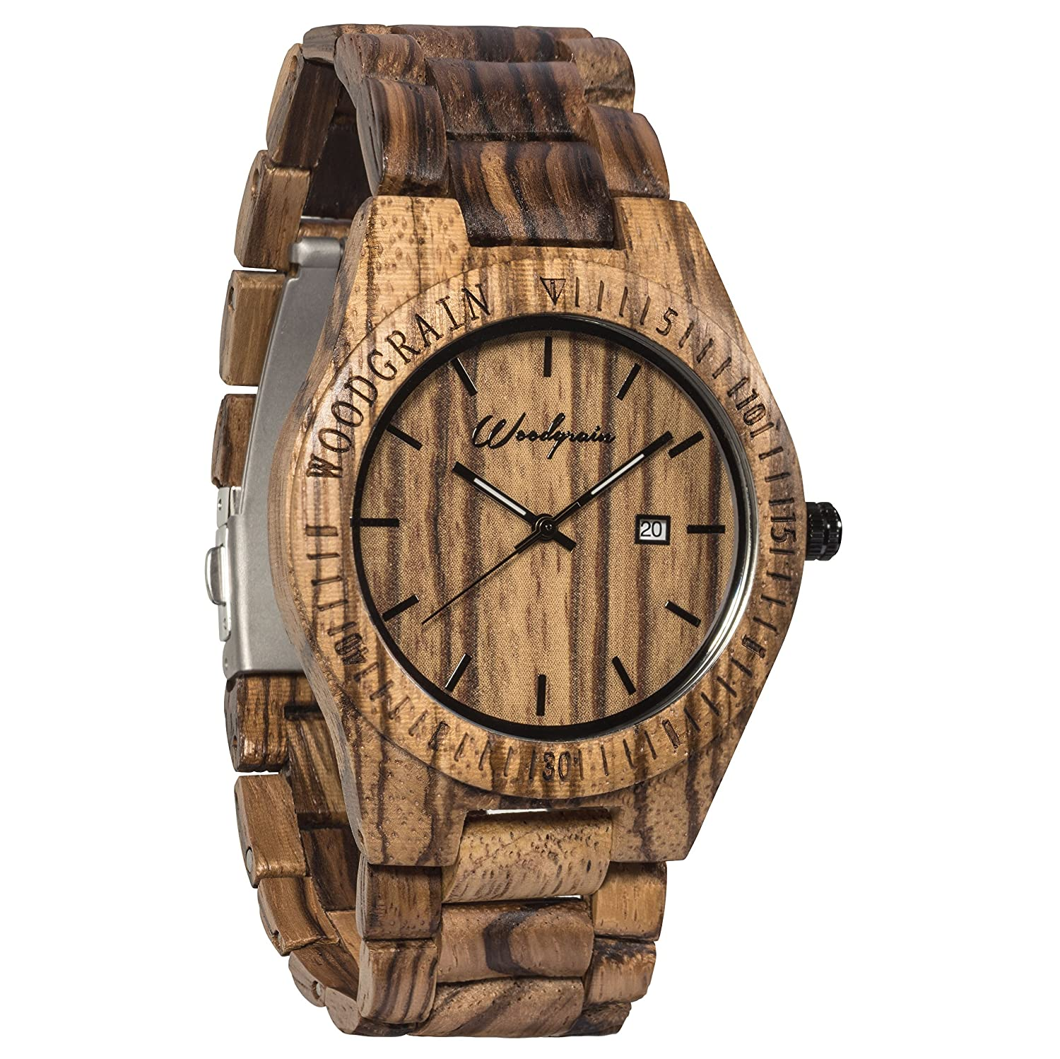 handmade com watches wood amazon natural brown leather watch wooden dp band with mens zebra grain genuine