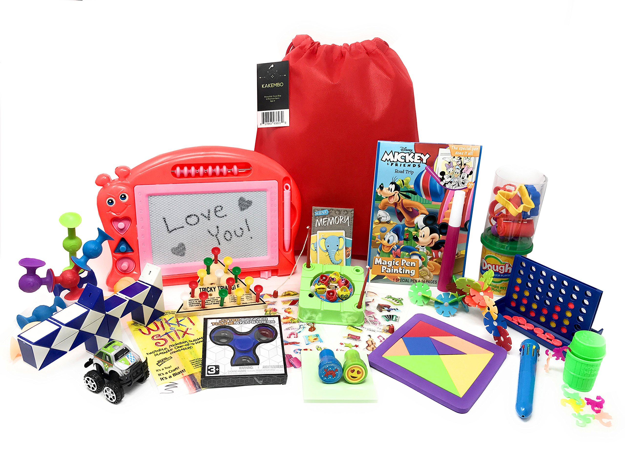 Premium Kids Travel Activity Bag. Full of Travel Games and Travel Toys. Great Road Trip and Airplane Activities for Kids. Includes 20 Premium Items Such as Connect 4 and Fidget Spinner. Ages 5+