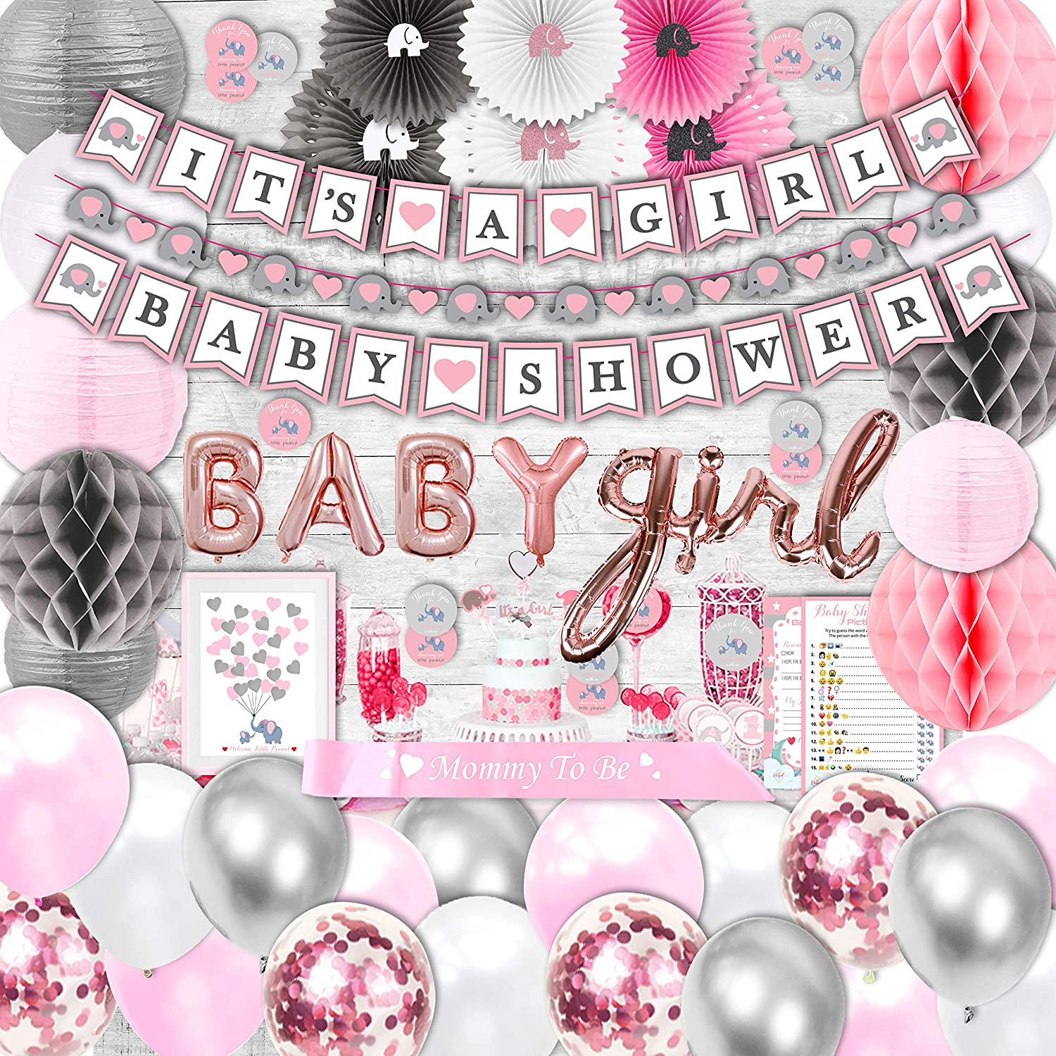 183 Piece Pink Elephant Baby Shower Decorations for Girl Kit - It's a Girl Pre-Strung Banners, Garland, Guestbook Mommy to Be Sash Balloons Cake Toppers Paper Fans Lanterns, Games & Thank You Stickers