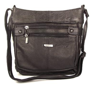 6e10314b3bf7 Black Genuine Real Leather Ladies Medium Handbag Shoulder Bag Long Strap