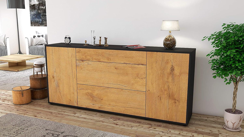 180x79x35cm Push-to-Open Technik /& Leichtlaufschienen Stil.Zeit Sideboard Eleonora//Korpus anthrazit matt//Front Holz-Design Eiche