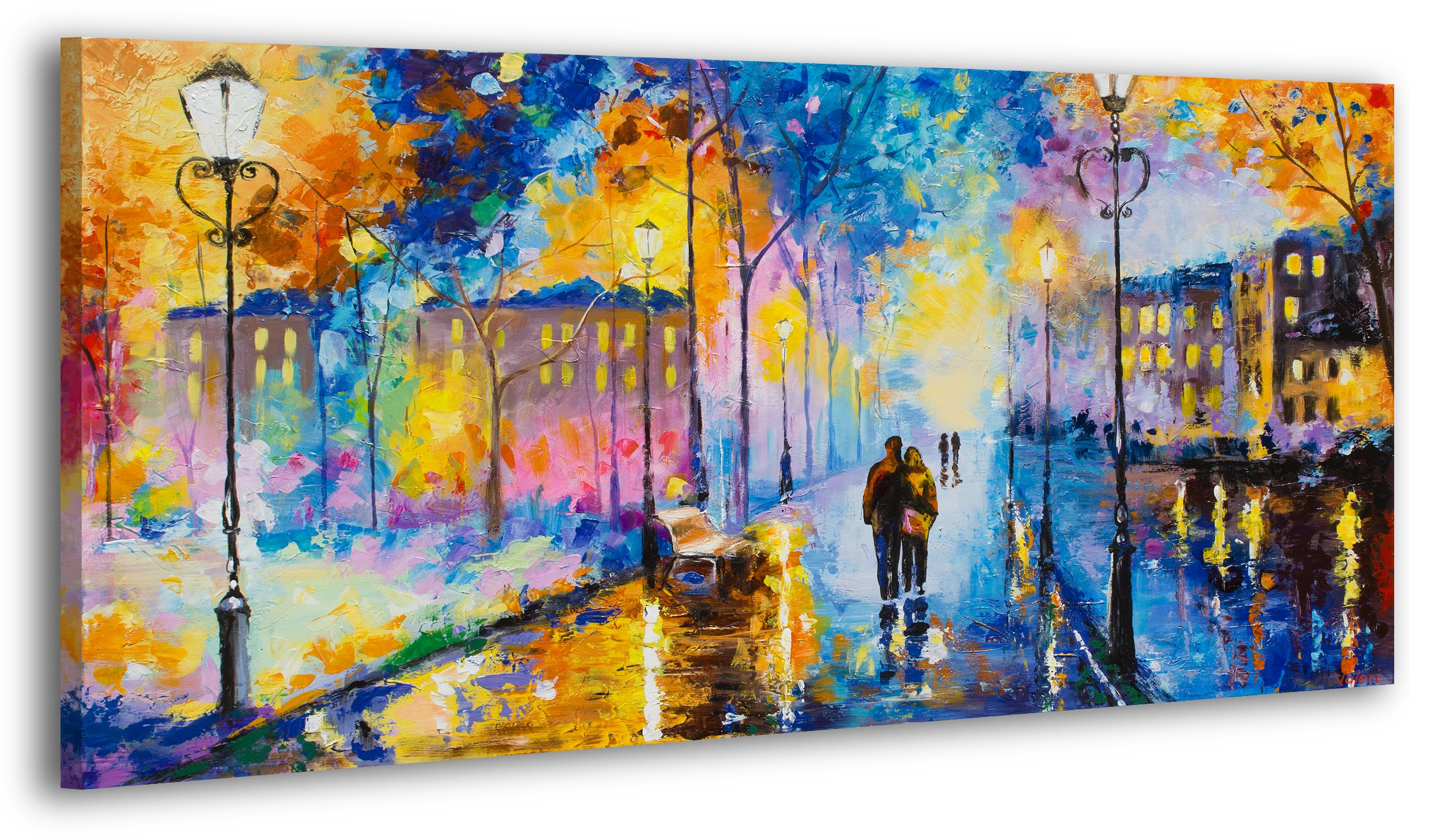 100% HANDPAINTED YS-Art Acrylic Painting + Certificate | Made in Europe | 51 x 28 inch (130x70 cm) | Artwork on Canvas with Wooden Frame | Handmade Picture Ready to Hang in your Living Room or Bedroom