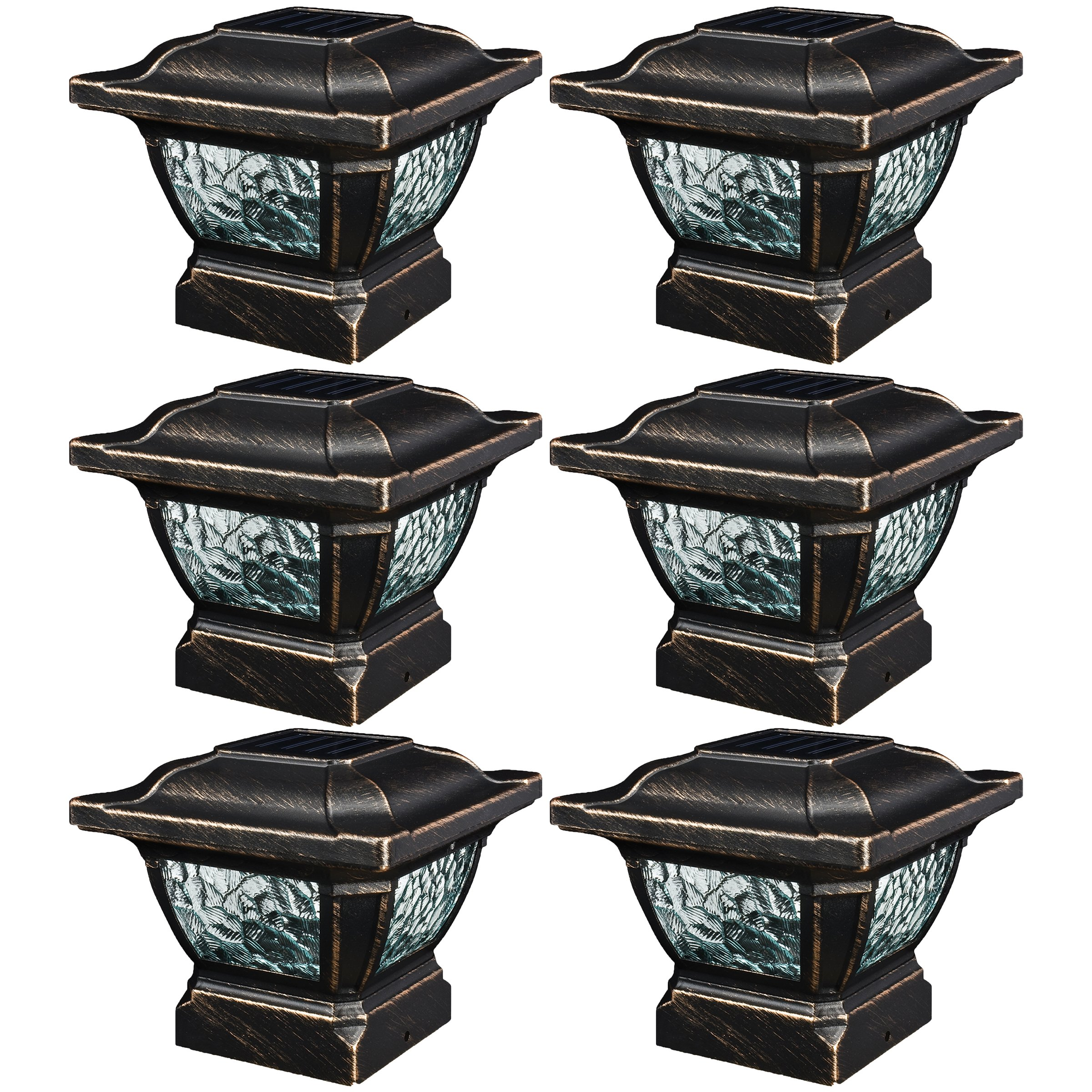 Paradise GL28998BZ Solar Cast Aluminum LED Post Cap Light (Bronze, 6 Pack) by Paradise