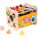 8 in 1 Activity Cube - Shape Sorting, Xylophone, Gears, Peg Maze and More by Kids Destiny