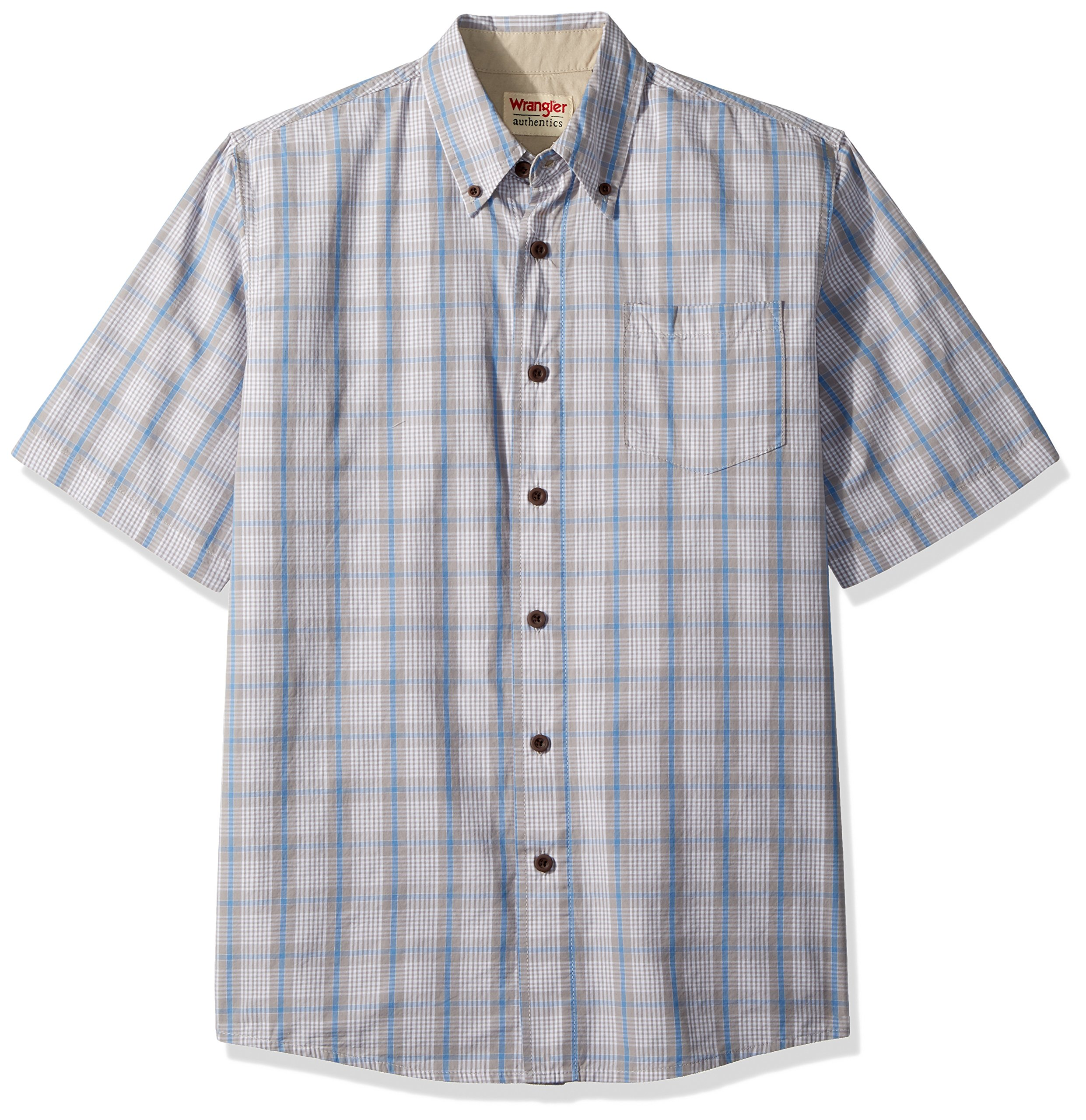 Wrangler Authentics Men's Short Sleeve Classic Plaid Shirt, Pumice Stone, M