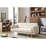 WestWood Fabric Sofa Bed Recliner Couch 3 Seater 2 Modern Cushions Luxury Home Furniture Click Clack Mechanism Beige FSB04