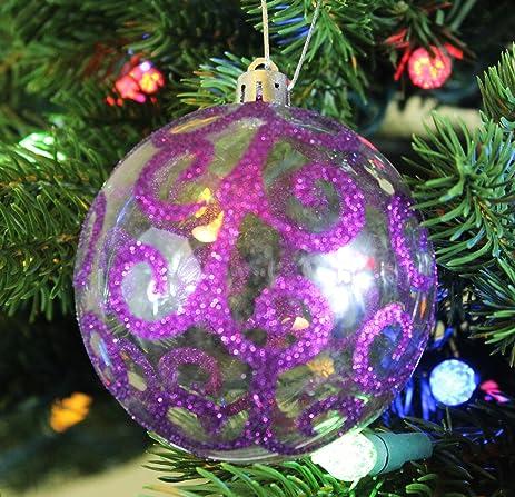 festive season purple swirl shatterproof christmas ball ornaments tree decorations set of 6