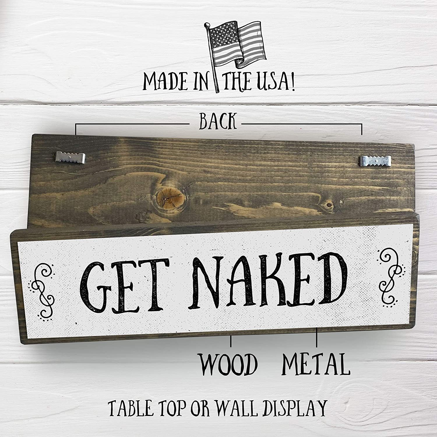 Wall Hanging or Free Standing Wood Sign Rustic Signs with Sayings 17x7 Inch Flinelife Vertical Get Naked Nice Butt Sign Wood Framed Bathroom Signs 1 Frame 2 Sided