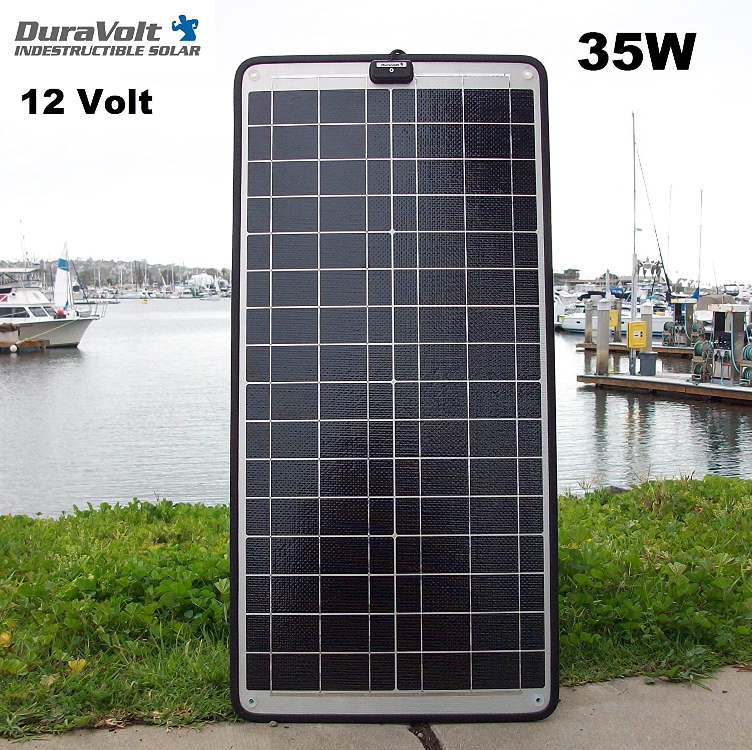 DuraVolt 12 Volt 2.0 Amp Solar Charger – 35.0 Watt – Plug Play – for Boats, Rv, Marine – Size 28.7 x 13.7 x .25