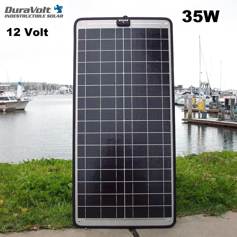 DuraVolt 12 Volt 2.0 Amp Solar Charger – 35.0 Watt – Plug Play – for Boats, Rv, Marine – Size 28.7 x 13.7 x .25