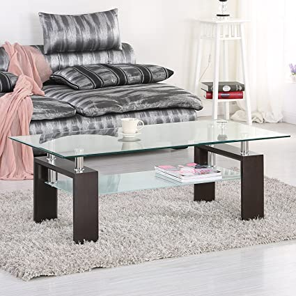 Mecor Rectangle Glass Coffee Table Black Modern Side Coffee Table With  Lower Shelf Wooden Legs