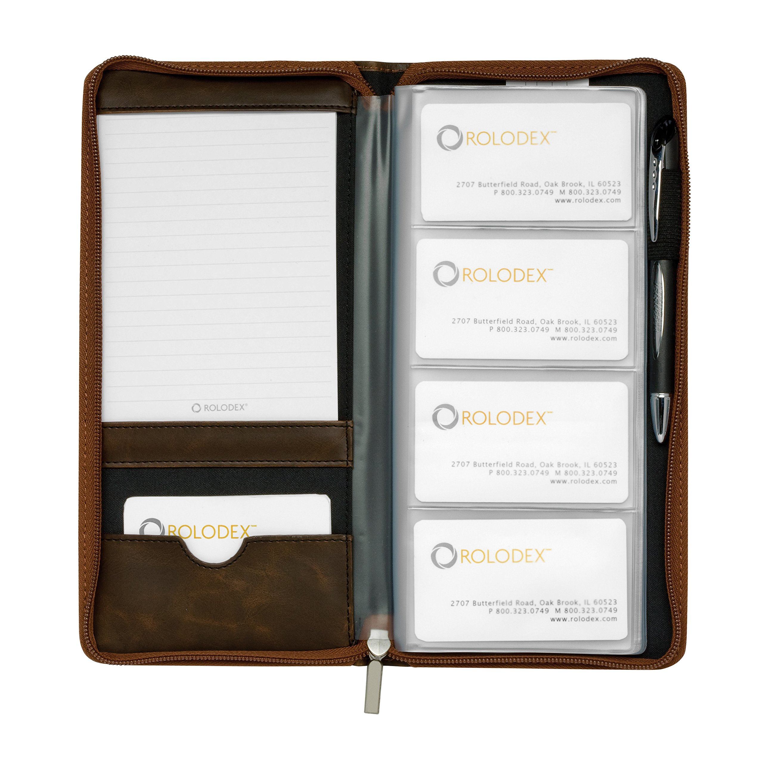 Rolodex Explorer Collection Business Card Book, 96-Card, Brown (22336)