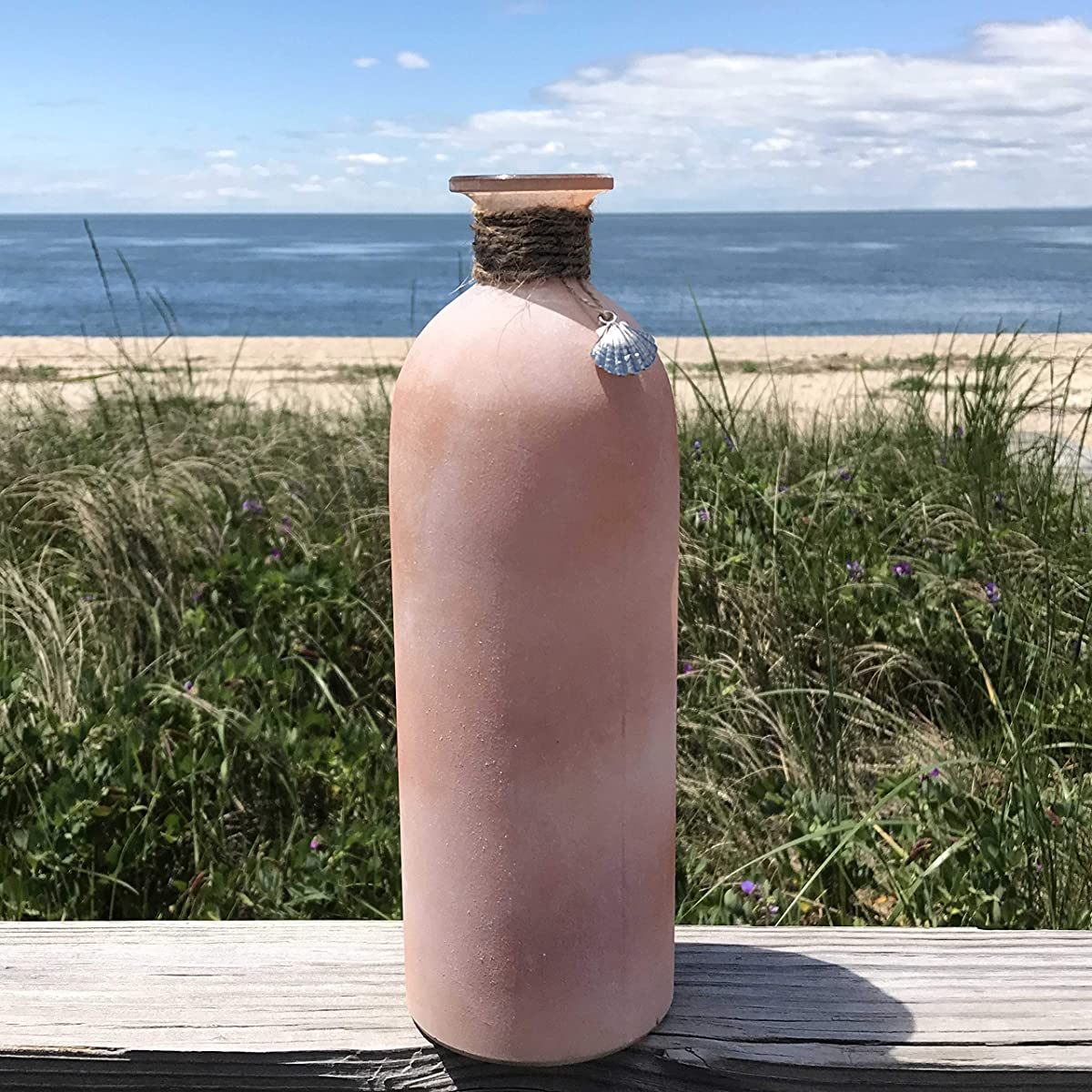 The Beach Chic Sea Glass Vases, Set of 3, Rope Wrapped, Shell Pendant, White, Mauve and Amber, 10 1/4 Inches Tall, By Whole House Worlds