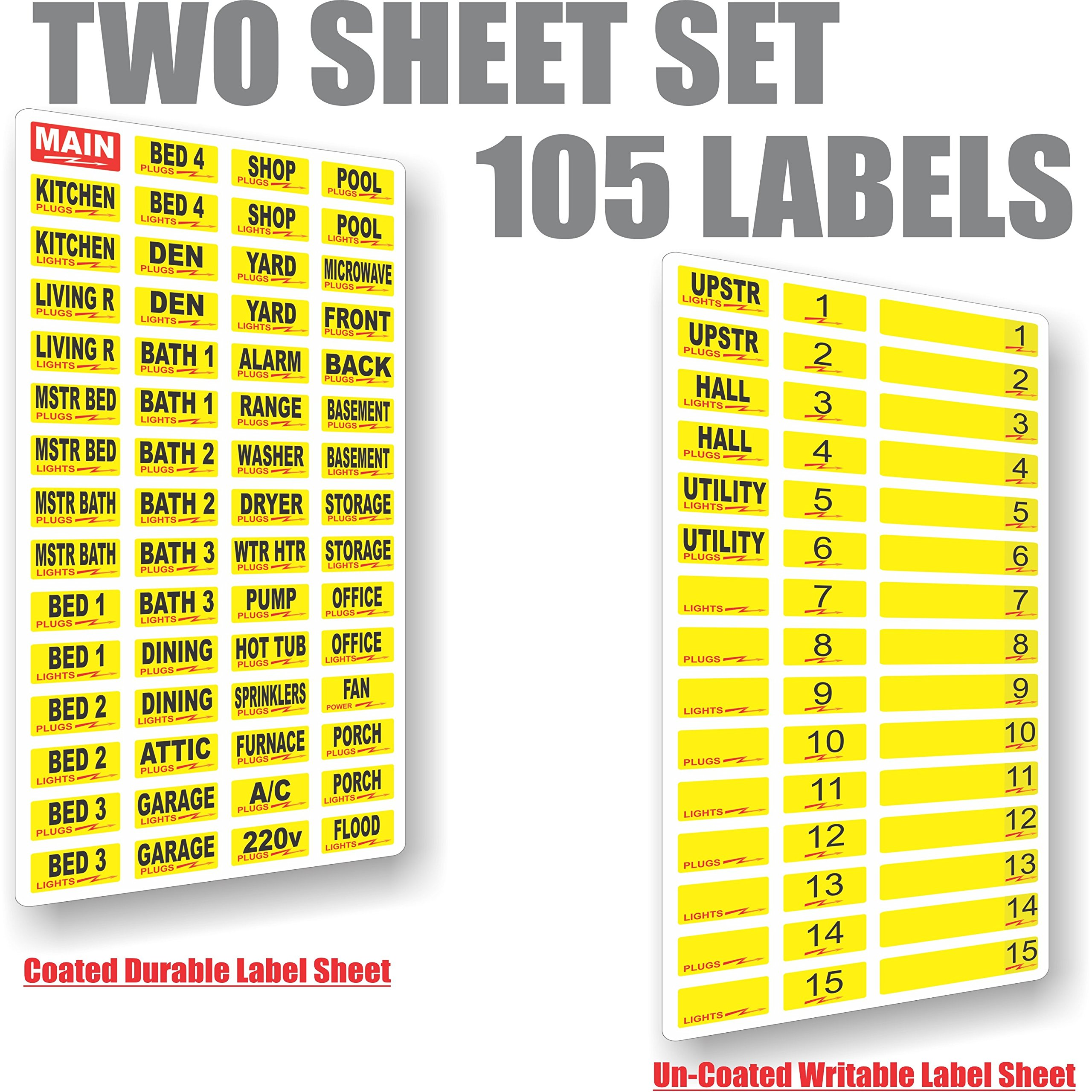 Circuit Breaker Decals 105 Tough Vinyl Labels For Panel Improvement Electrical Breakers Load Centers Fuses Boxes Great Home Or Office Apartment Complexes And Electricians Placed Directly