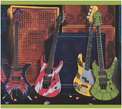 RetroArt Rollo de guitarras coloridos altavoces Subwoofers fondos amplia frontera para dormitorio de adolescentes, 15