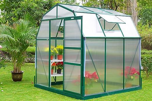 OUTFLEXX Aluminio Invernadero TwinWall policarbonato 6 mm, Verde, 192 x 195 x 201, 5 cm: Amazon.es: Jardín