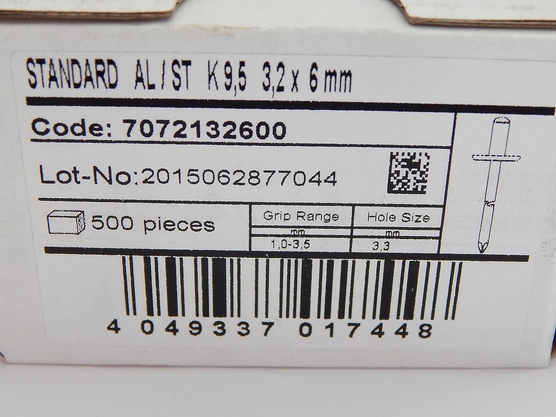 200 St/ück Blindnieten Popnieten Alu//Stahl 3,2x6 mm Nieten Gro/ßkopf K9,5