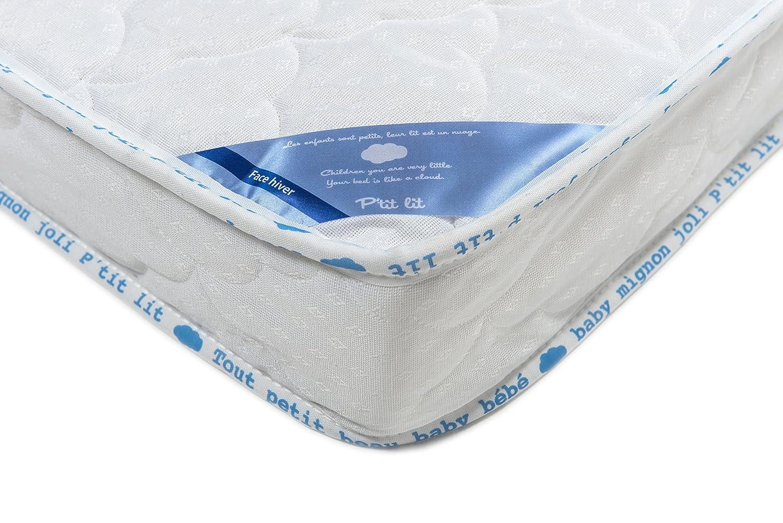 P\'tit Lit - Matelas bébé Climatisé - 60 x 120 x 12 cm - Eté Hiver -  Anti-acariens - Premium - Fabrication française