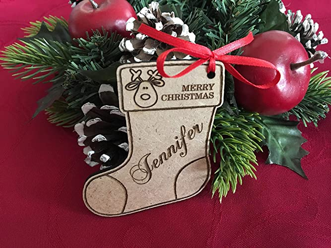 Personalized Christmas Wood Stocking Tags Gifts Xmas Labels Present Tag  Name Tree Decor Ornament Engraved Stocking - Amazon.com: Personalized Christmas Wood Stocking Tags Gifts Xmas