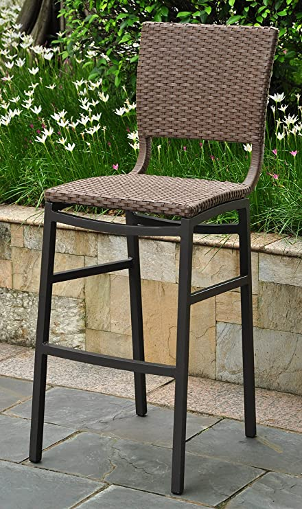 Amazon.com: International Caravan 523689 Wicker Resin/Aluminum Patio Bar  Stool, Set Of 2, Brown: Garden U0026 Outdoor