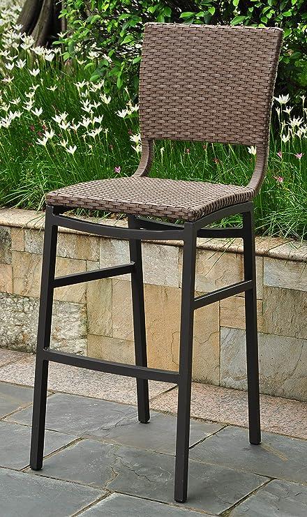 Merveilleux International Caravan Wicker Resin/Aluminum Patio Bar Stool   Set Of 2
