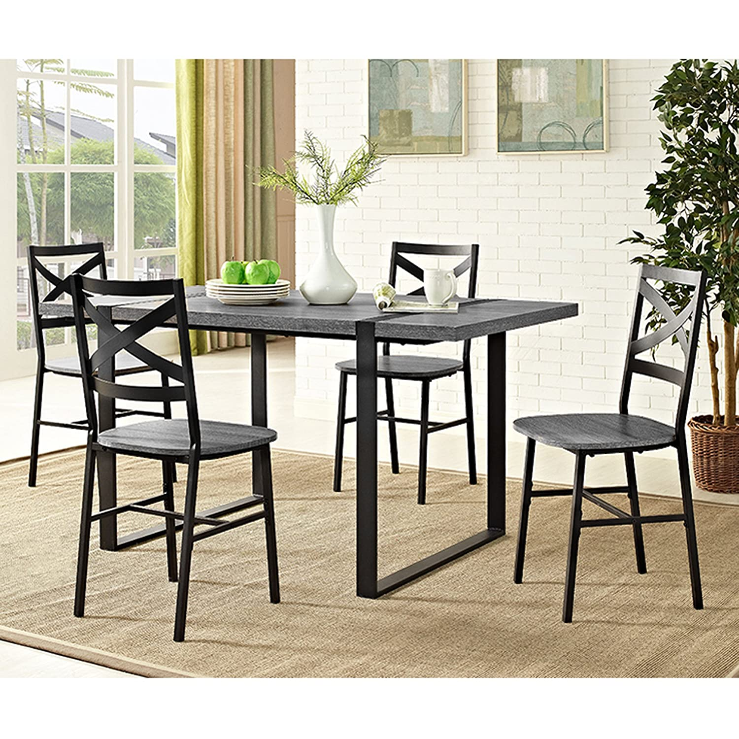 Amazon com we furniture 60 urban blend wood dining table charcoal tables
