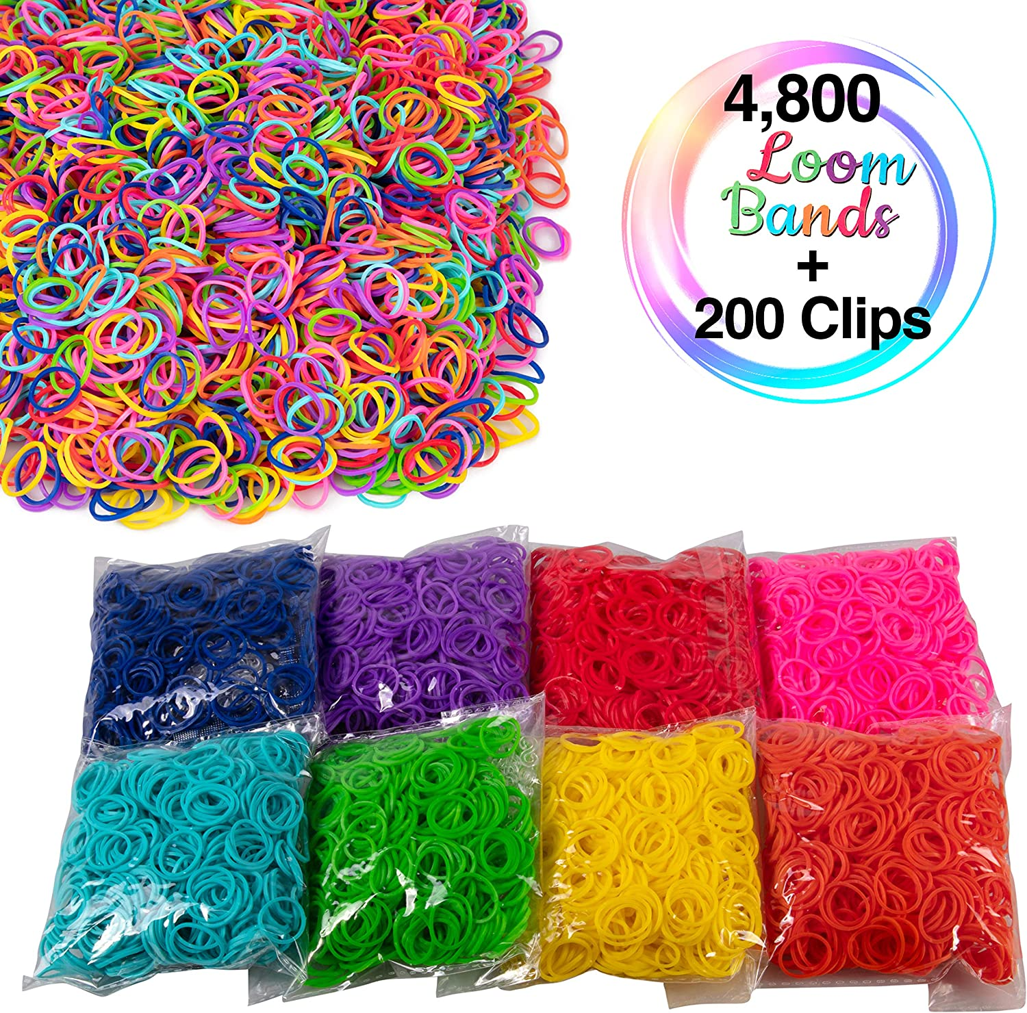 Amazon.com: Loom Rubber Bands - 4800 pc Refill Value Pack with ...