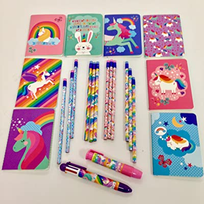 "OOLY Unicorn Pocket Pal Journal, Pack of 8, 3.5"" x 5"", (8 Unicorn Designs), Unicorn Graphite Pencils, Set of 12, and Unicorn 6-Color Click Pen. Great Gift, Classroom, Work or Party Favor Idea: Toys & Games"