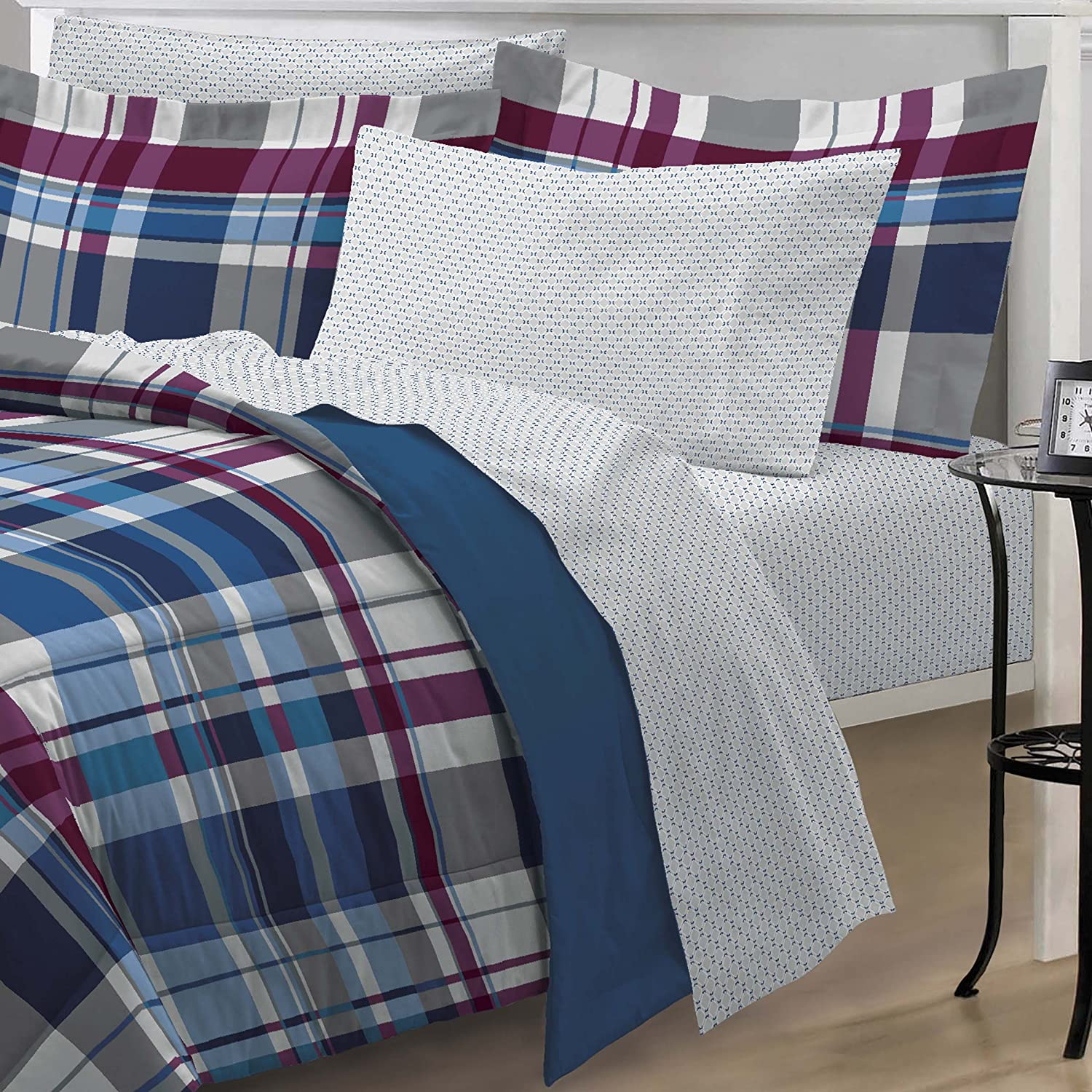amazoncom my room varsity plaid ultra soft microfiber comforter bedding set twin home u0026 kitchen - Twin Bed Sheets