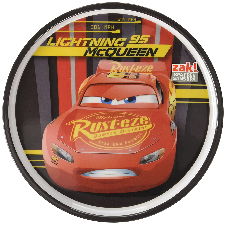Zak Designs CRSG-0353 Cars 3 8in Melamine Rimmed Plate Multicolor