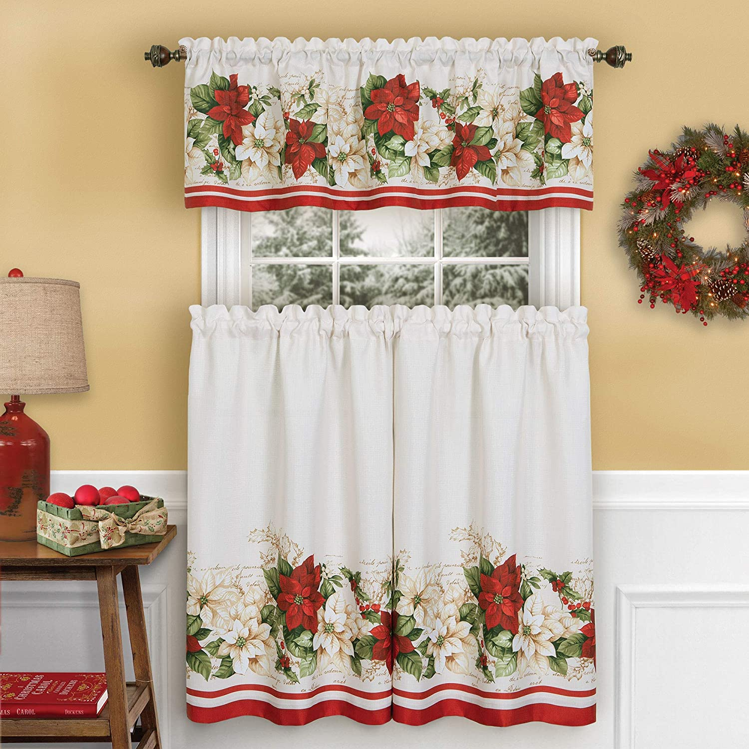 Elrene Home Fashions Red and White Poinsettia Holiday Christmas Kitchen/Café and Bath Tiers and Valance, 3 Piece Set, 60