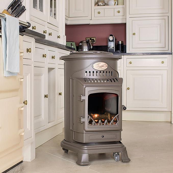 Provence - Calefactor de gas con efecto de estufa de madera, 3 kW, marrón miel: Amazon.es: Hogar