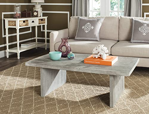 Safavieh Home Collection Senjo Rouge Rattan Coffee Table, Gray