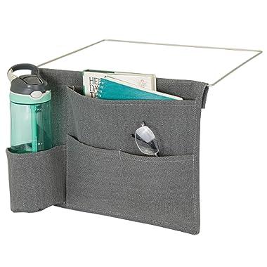 mDesign Bedside Storage Organizer Caddy Pocket - Slim Space Saving Design, 4 Pockets - Heavy Cotton Canvas - Holds Water Bottles, Books, Magazines - Charcoal Gray/Wire Insert in Matte Satin