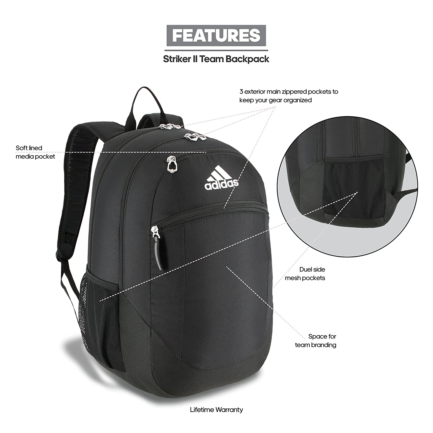 Amazon.com  adidas Striker II Backpack 20f062647ab7a