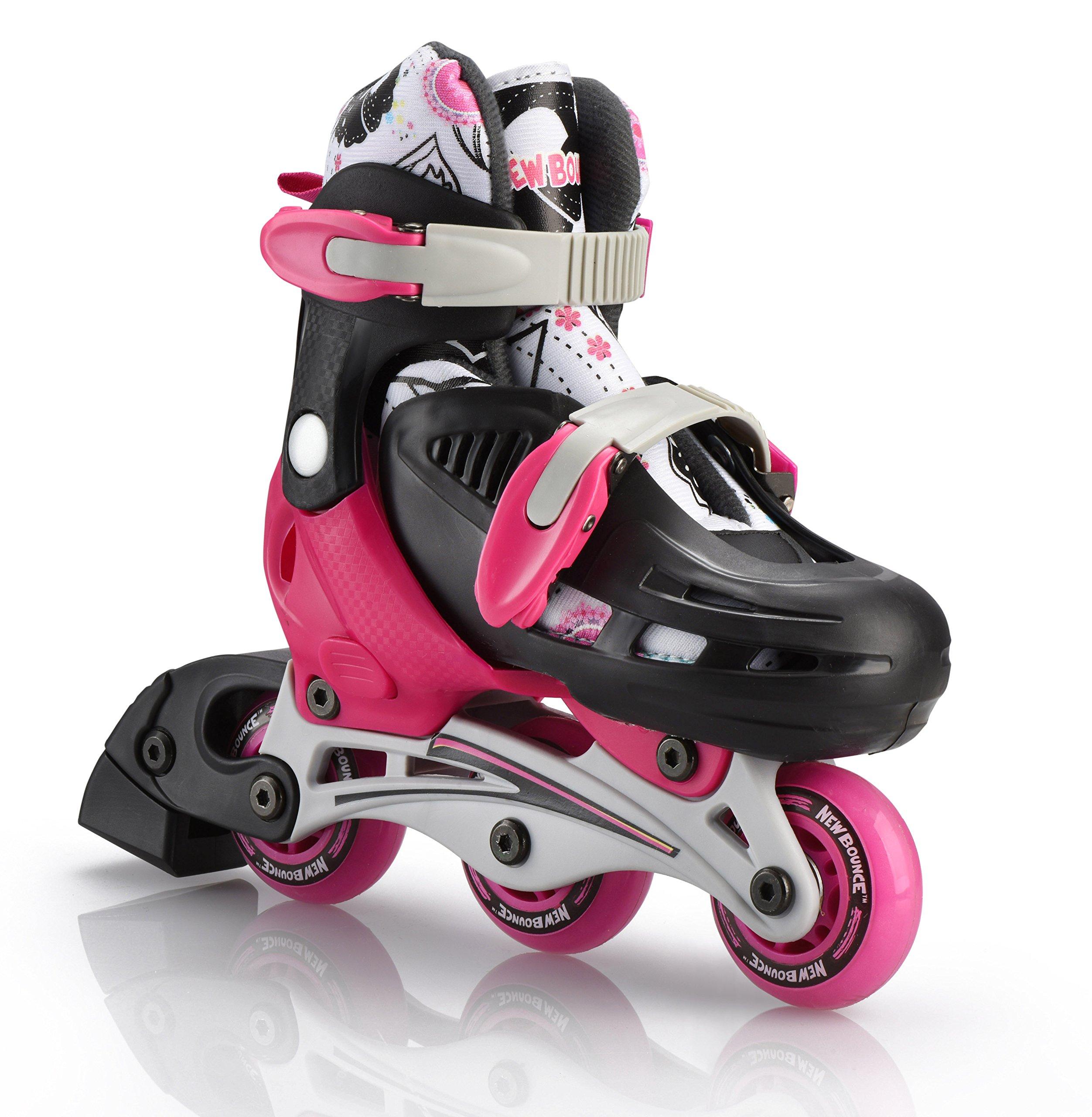 New Bounce Premium 2 in 1 Convertible Roller Skate Junior size 8-11, Tri wheel skate or inline Skates
