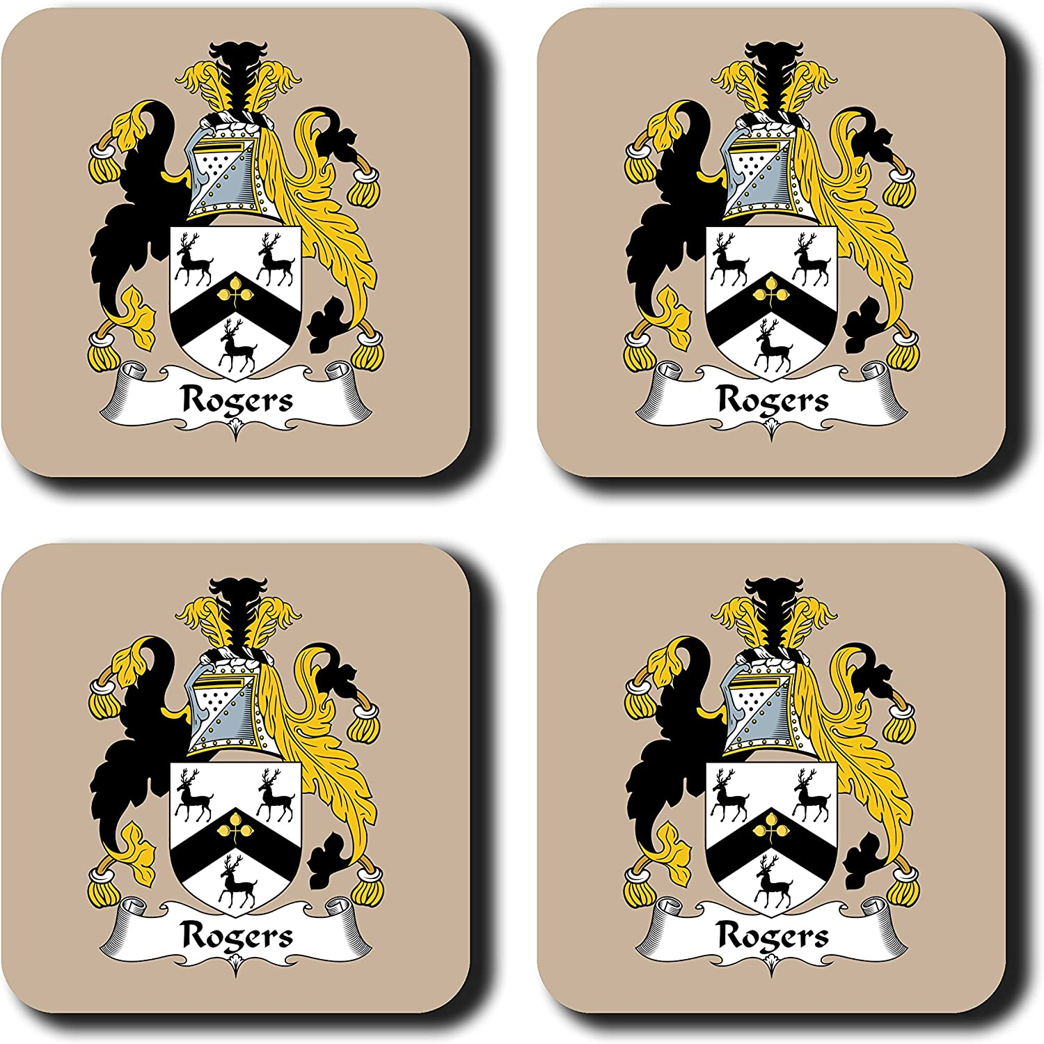 Rogers Coat of Arms/Family Crest Coaster Set, by Carpe Diem Designs – Made in the U.S.A.