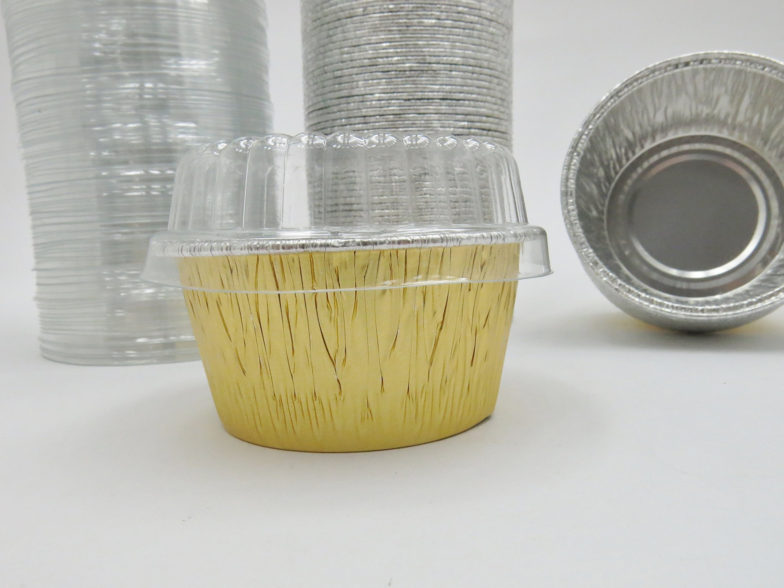 Disposable Aluminum Gold 4 oz. Baking Cups/ramekins with Clear Plastic Lids #1110P (1,000)