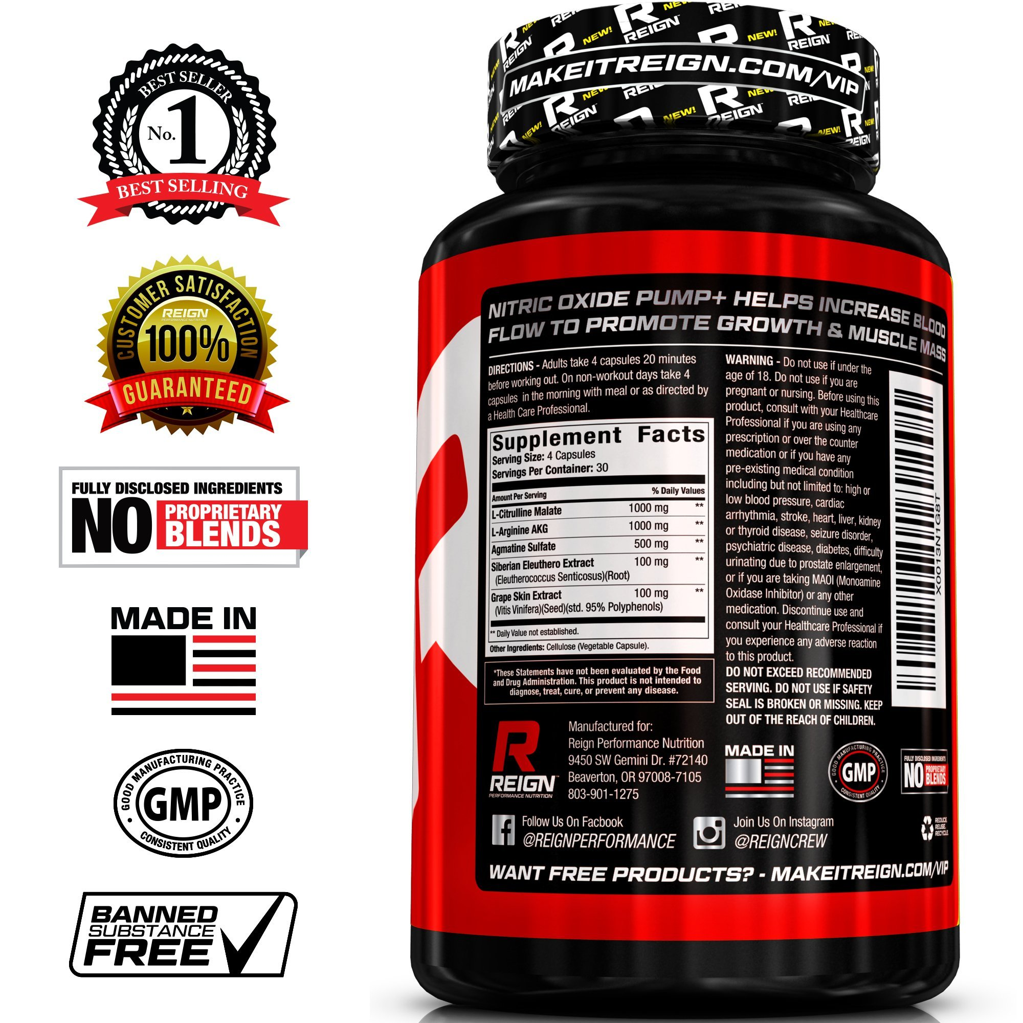 Nitric Oxide Pump+ - Powerful Nitric Oxide Supplements - Pre Workout with L  Arginine, Citrulline Malate & Agmatine Sulfate - Stimulates Blood Flow for
